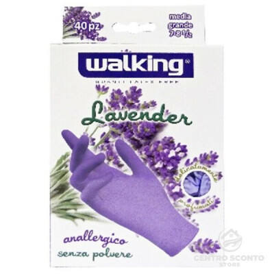 WALKING GUANTI IN LATTICE LATTEX FREE LAVANDA S/M 40 PEZZI